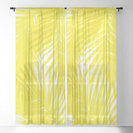 Palms Yellow Sheer Curtain