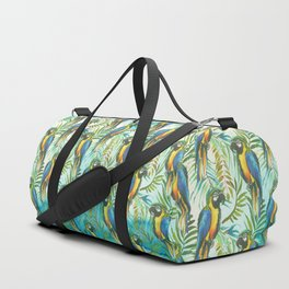 Watercolor blue yellow tropical parrot bird floral Duffle Bag