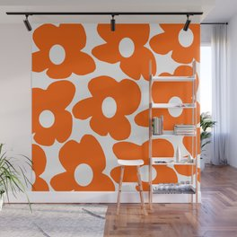 Orange Retro Flowers White Background #decor #society6 #buyart Wall Mural