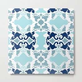 Bold damasks with chic floral designs Blue. Metal Print