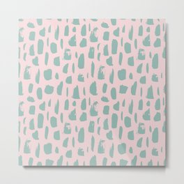 Handdrawn mint drops and dots on pink -Mix & Match with Simplicty of life Metal Print