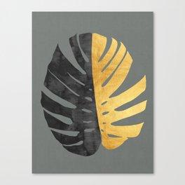 Monstera deliciosa with gold II Canvas Print