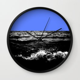 Black Wave w/Light Blue Horizon Wall Clock