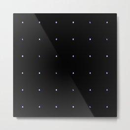 BLACK + neon pixels/ minimal Metal Print