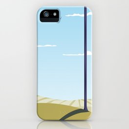 Green hillside and trees cartoon landscape. iPhone Case