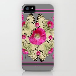 CHARCOAL GREY PINK FLOWERS YELLOW BUTTERFLIES iPhone Case