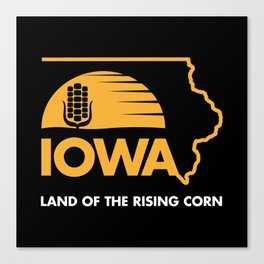 Iowa: Land of the Rising Corn - Black and Gold Edition Canvas Print