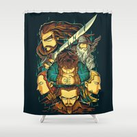 the hobbit Shower Curtains featuring The Hobbit by anggatantama