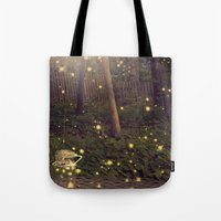 fireflies Tote Bags featuring Fireflies by Maureen Anne