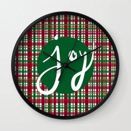 Holiday Plaid Joy - Green Wall Clock