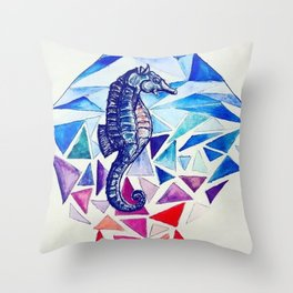 Seahorse on the Ocean floor Throw Pillow