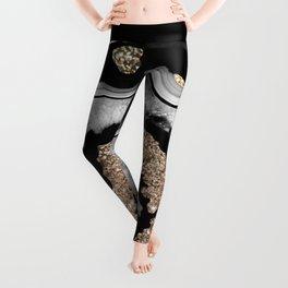 Gray Black White Agate with Gold Glitter on Black #1 #gem #decor #art #society6 Leggings