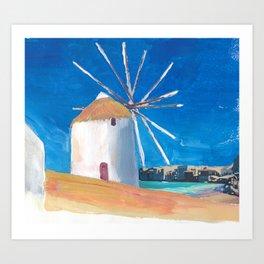Mykonos Greece Windmill, Sea and Little Venice Art Print