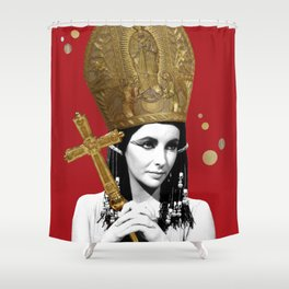 Idol Worship (Starring Elizabeth Taylor as the Pope) Shower Curtain