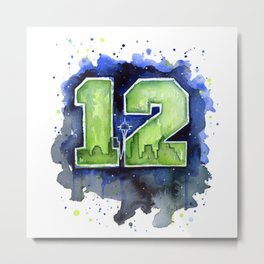 12th Man Seahawks Seattle Go Hawks Art Metal Print