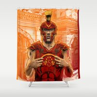 gladiator Shower Curtains featuring German Gladiator Podolski by Akyanyme