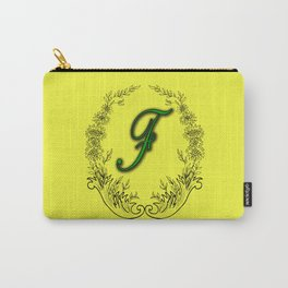 the letter F in a leaves and flowers . Art Carry-All Pouch