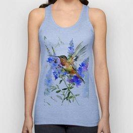 Alen's Hummingbird and Blue Flowers, floral bird design birds, watercolor floral bird art Unisex Tank Top