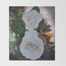 white primrose Throw Blanket