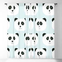 Panda Love- Mint Blue Blackout Curtain