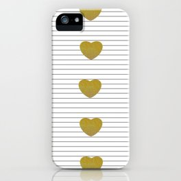 Golden Hearts and Thin Stripes iPhone Case
