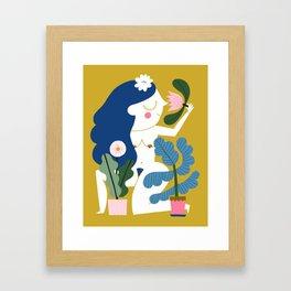 Blue Plant Lady Framed Art Print