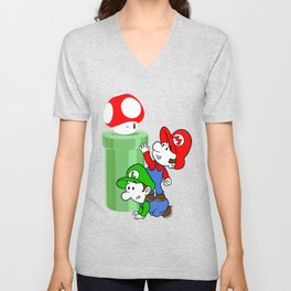 Mario and Luigi chasing the Mushroom Unisex V-Neck