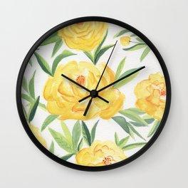 Peonies Watercolor Wall Clock