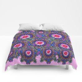 PINK & BLUE #2 PEACOCK MANDALAS WITH  FUCHSIA FLOWER ART Comforters