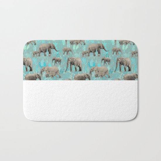 Sweet Elephants in Soft Teal Bath Mat