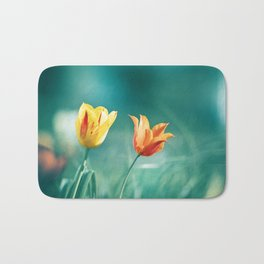 Teal Orange Nature Photography, Turquoise Yellow Tulips Photo, Aqua Teal Green Flower Art Print Bath Mat