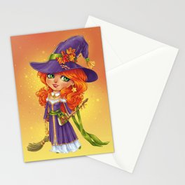 Halloween Witch Chibi Stationery Cards