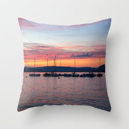 Sunset Lake Annecy Throw Pillow