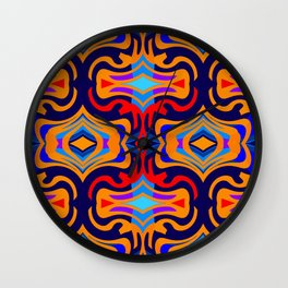 All Wound Up Geo on Blue/Red/Gold/Purple Wall Clock