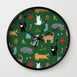Christmas Cats Wall Clock