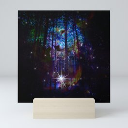 wolf in the forest Mini Art Print