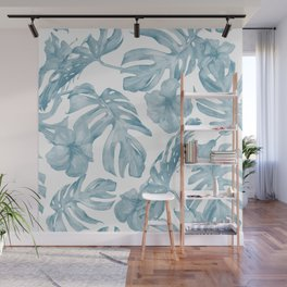 Gorgeous Blue Tropical Leaves + Flowers Wall Mural