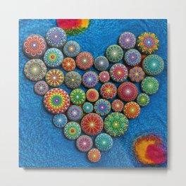 Mandala Stone Love Heart Metal Print