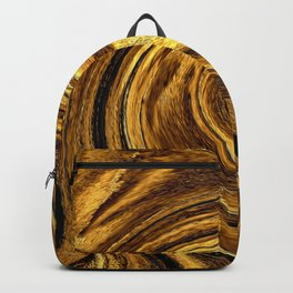 Gold Brown Abstract Sun Rotation Pattern Backpack