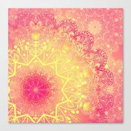 Mandala in Rose and Lemon Canvas Print