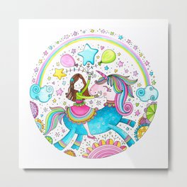 Unicorn Girl Metal Print