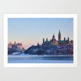 Parliament Hill Ottawa, Canada in Winter Art Print