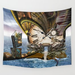 Steampunk Ocean Dragon Library Wall Tapestry