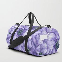 Violet anemone flowers watercolor pattern Duffle Bag