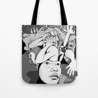 depression Tote Bags featuring Depression by Benson Koo