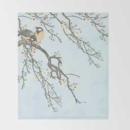 Birds and blossoms Throw Blanket