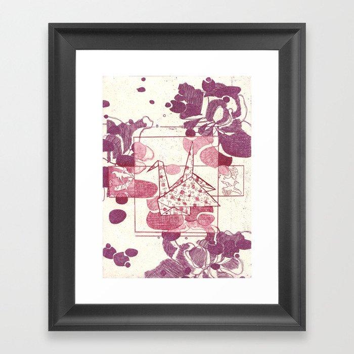 Pink and Purple Paper Crane Framed Art Print