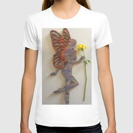 Wooden fairy holding real flower T-shirt