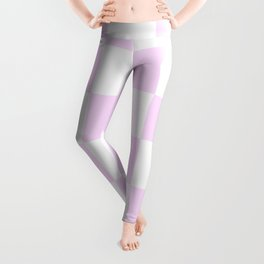 Large Checkered - White and Pastel Violet Leggings