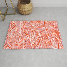 Abstract red coral lilac hand painted bohemian feathers pattern Rug